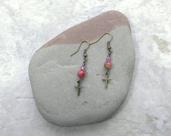 Pink Cross earrings, pink jasper dangle earrings, spring fashion, gifts for women, mothers day gift ideas, gift for daughter, baptism gifts