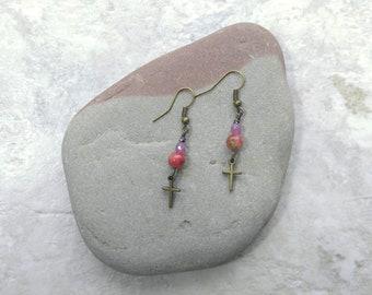 Pink Cross, Rosa Jaspis baumeln Ohrringe, frühjahrsmode, Geschenke für Frauen, Muttertag Geschenkideen, Geschenk für Tochter, Taufe Geschenke