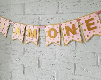 I am one banner. First birthday party. 1st birthday photo props. First birthday photo props. Pink and gold First birthday banner girl.