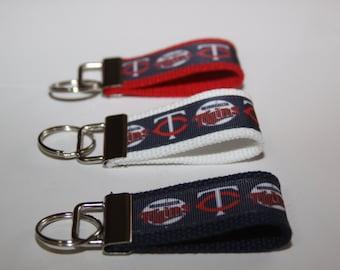 MINI Key chain wristlet key fob with Minnesota Twins Ribbon