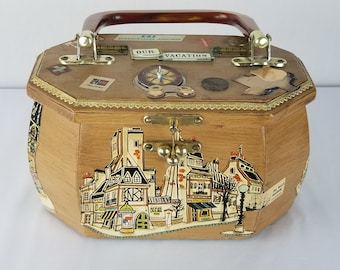 Vintage Decoupage wooden box purse themed vacation Paris