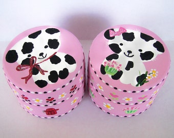 Hand Painted Love Boxes Custom Valentine Dalmation Dog Box Pink Wood