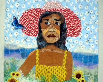 """Wall Hanging Art Quilt """"Janie: Her Eyes Were Watching God"""" Yellow, Red, & Baby Blue with Daisies Butterfly  Commemorating Zora Neale Hurston"""