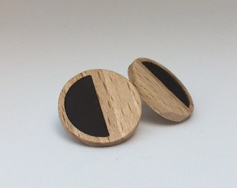 Black Lob Earring EPA! Design. Mixture collection. Jewelry, jewels, design, wood, rim, rubber. Lobe earring, Pin