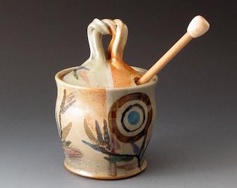 Honey Pot with Circle and Sprig Designs, Handmade Ceramic Covered Jar, Sugar Bowls, Lidded Jar, Handcrafted, Fine Art Ceramics