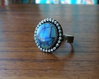 Monarch Opal Round Sterling Silver Stamped Ring - Size 6 - Boho Bohemian Gypsy Hippie Ponderbird