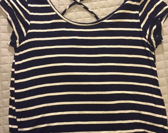 Blue and white striped tee shirt