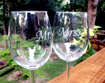 Mr and Mrs Wine glass set - Great Wedding Gift