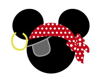 Pirate Mickey and Minnie Heads - svg, pdf, png and dxf files