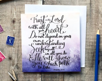 Trust In The Lord Card - Proverbs 3:5-6 Card - Christian Cards - Watercolour Cards - Encouragement Card - Card for a Friend - Christian Gift