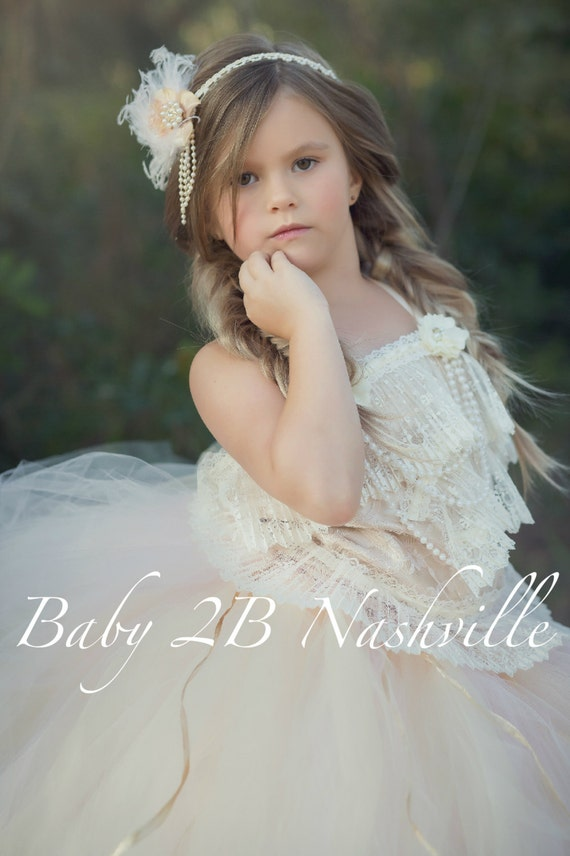Wedding Flower Girl Accessory Pearls and Lace Headband Crown Hairpiece Lace Crown Pearl Crown