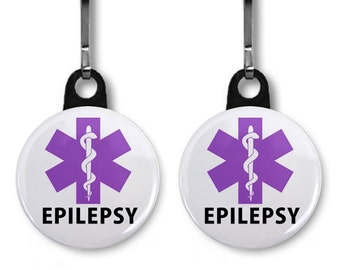 EPILEPSY Awareness Purple Medical Alert 2-Pack of Zipper Pull Charm (Choose Size and Backing Color)