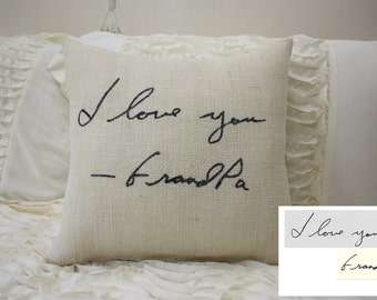 Burlap Pillow/Personalized Handwriting Pillow/Remembrance Gift - In Memory Of / Bereavement / Mother's Day / Father's Day