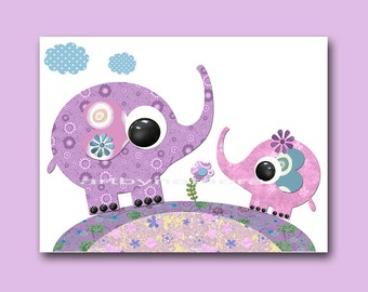 Elephant Digital Download Art Girl Nursery Decor Instant Download Print Printable Nursery Print Baby Digital Print Kids Wall Art 8x10 11X14