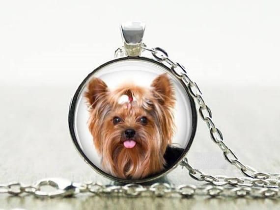 Yorkie necklace 4 yorkie puppy with bow pendant yorkie like this item aloadofball Choice Image