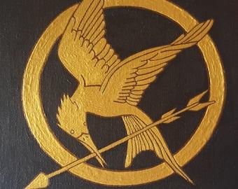 Mockingjay Pin Canvas Painting. The Hunger Games Mockingjay Pin. Acrylic, Wall Decor, Room Decor, Dorm Decor, Wall Art (READY TO SHIP)