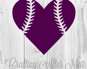 Baseball Heart SVG File, Cutting Template, Babeball Stitches Clip Art for Commercial and Personal Use, File for Cricut, Silhouette Cameo