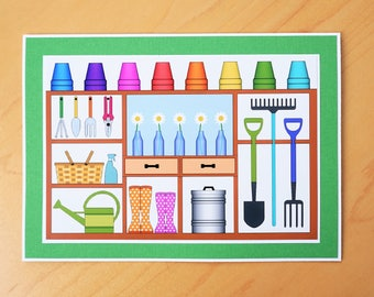 Gift for Gardener, Card for gardener,  Potting shed, Gardening card, Flower lovers card, Gardener gift, Flower card, gardener card, Flowers