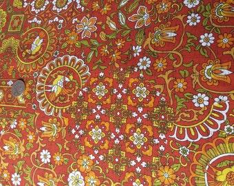 Vintage Japanese retro wool kimono fabric 92 cm x 36 cm floral sarasa pattern