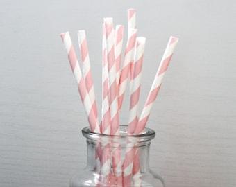 Paper Straws / Light Pink Straws / Pink Striped Straws / Striped Straws / Party Straws / Light Pink Straw / Pink Straw