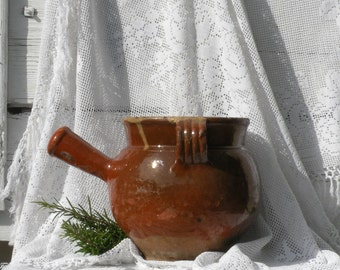 LARGE French antique confit cooking pot, French antique stoneware pot, French antiques, French vintage, rustic, country home country cottage
