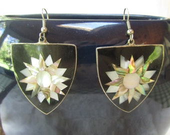 Lot of two earrings--alpaca abalone earrings and also enamel lotus earrings