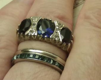 Victorian Era Sapphire and Ruby Paste Ring