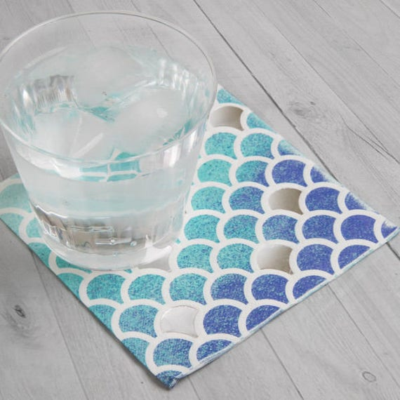 Mermaid Guest Towels: Blue And Silver Scallop Foil Party Supplies/ Blue Scalloped