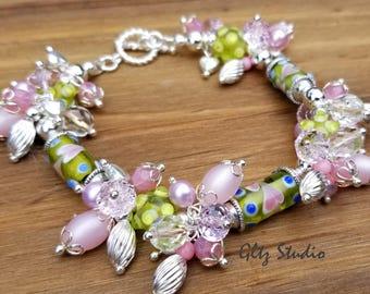 Vintage Lampwork Heart Cluster Bracelet w/Swarovski Crystals, Czech Glass. Sterling Silver Plated Beads And Sterling Silver Clasp