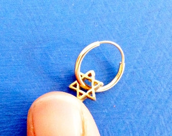 Carry Your Star of David. 14K Gold Star of David Nose Ring. Recycled Eco Friendly. Unisex Helix Piercing. Cartilage Ring. Septum Jewelry.