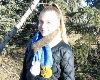 Knit Tube Scarf with Pom Poms-Jelly Roll