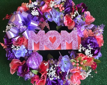 Cemetery Mom Floral Wreath - cemetery flowers - cemetery silk flowers - cemetery decor - sympathy - memorial flowers - gravesite floral