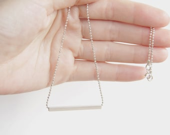 Silver Bar Necklace, Gift for her,Minimalist Line Necklace Silver Ball Chain,Dainty Necklace, Layering Silver Necklace, Square tube necklace