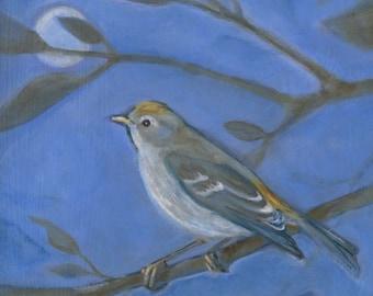 Bird Painting, Lucy Warbler, Oil Painting, Bird Art, Peaceful Art, Cubicle Art, Office Decor, Art for Desk, Original Art, Small Art,