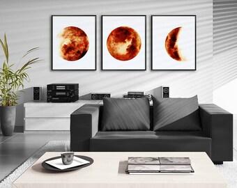 Moon Phases Watercolor Art Prints - Set of 3 Dark Orange Lunar Phases Prints - Moon Chart Posters - Housewarming Gift