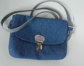 MB12 - Messenger cotton denim with silver dots - handmade
