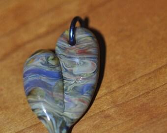 Blue Boro Heart Glass Pendant