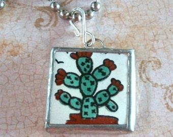 Talavera Mexican Tile Pendant Necklace