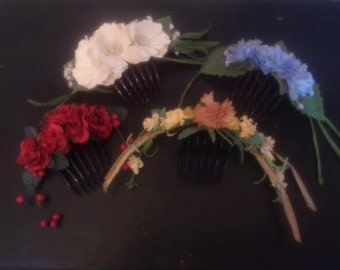 Custom-made floral comb, Civil War era headdress