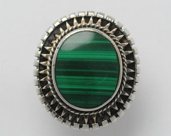 Malachite ring round shape