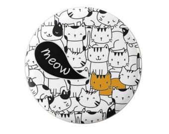 Ginger Cat (stands out) - Pin Back Badge - Fridge Magnet - Cat Lovers - be unique