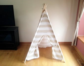 Kids Play Teepee Beige and White Stripe Kids Tent - Play toy, toddler toys play fort  Indoor Outdoor Teepee