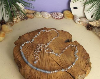 """18"""" Aquamarine Necklace Wire Wrapped in Argentium Siver with Handcrafted Argentium Silver S-Clasp & 3""""inch 925SS Extension Chain"""