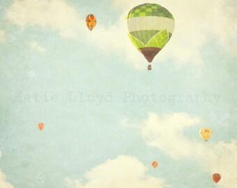 Hot Air Balloons in Flight - Whimsical Fine Art Photography Print - Nursery Bedroom Home Decor Photo