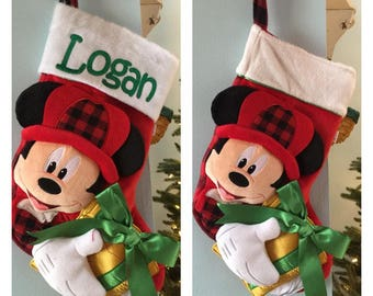 """Disney 20"""" Appliqued Hunter Mickey Mouse Plush White Cuff with plaid accents Christmas Stocking - Personalized"""