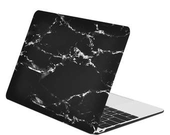 """Macbook 12-Inch Black Marble Rubberized Hard Case for  Macbook 12"""" with Retina Display Model A1534 (Version 2015)"""