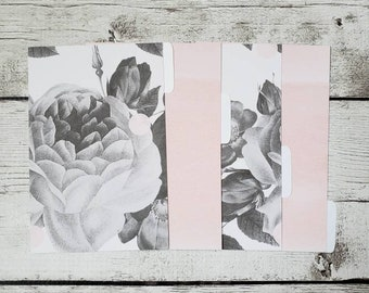 Grey Floral Planner Dividers - Floral Dividers - Minimalist Dividers - Custom Dividers- Planner Dividers - Pocket, A6, Personal, A5