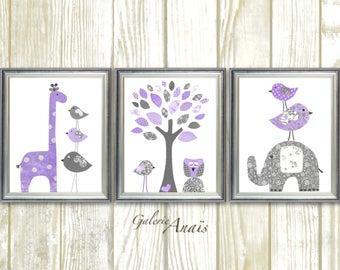 Girl Nursery Wall Art, Baby girl nursery art, nursery wall art Girl, Giraffe, elephant tree Birds owl, purple gray, Set of three prints