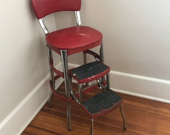 Cosco Shabby Chic Kitchen Stool,Red, Kitchen Chair, Step Stool