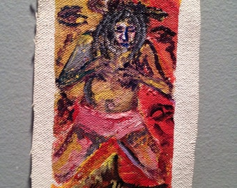 """miniature acrylic painting from Jamaica """"Ritualistic"""""""